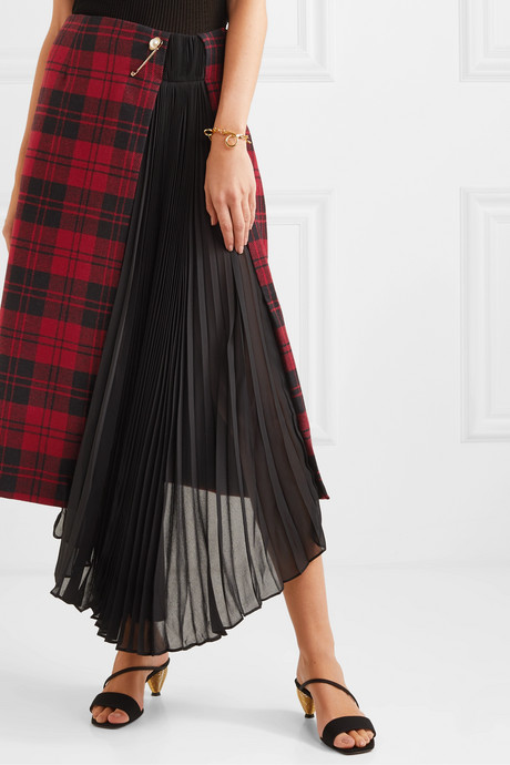 Marita asymmetric checked wool and pleated chiffon skirt
