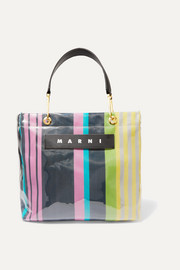 Marni Grip medium leather-trimmed PVC and striped canvas tote