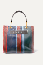 Grip medium leather-trimmed striped canvas and PVC tote