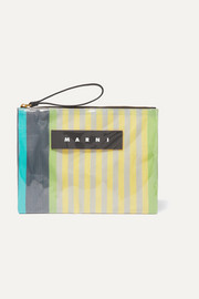 Marni Leather-trimmed PVC and striped canvas pouch