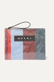 Leather-trimmed PVC and striped canvas pouch