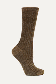 Lily ribbed metallic knitted socks