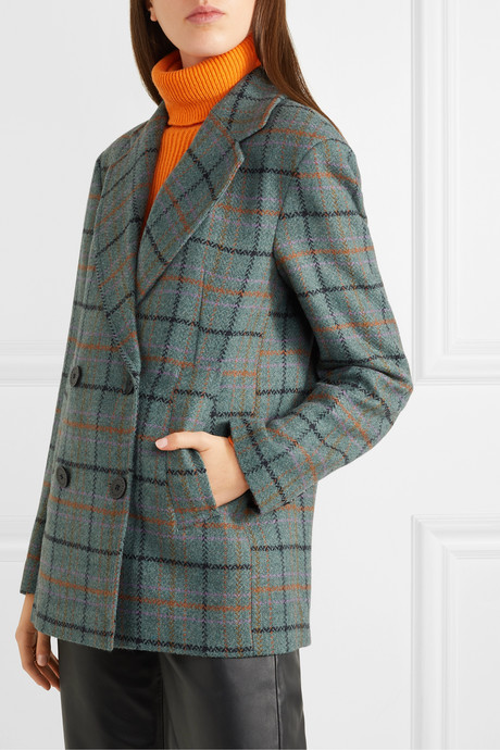 Debbie double-breasted checked tweed jacket