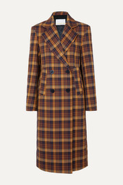 REMAIN Birger Christensen Debbie double-breasted checked cotton-blend coat