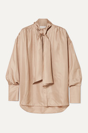 REMAIN Birger Christensen Halyn pussy-bow silk-satin blouse