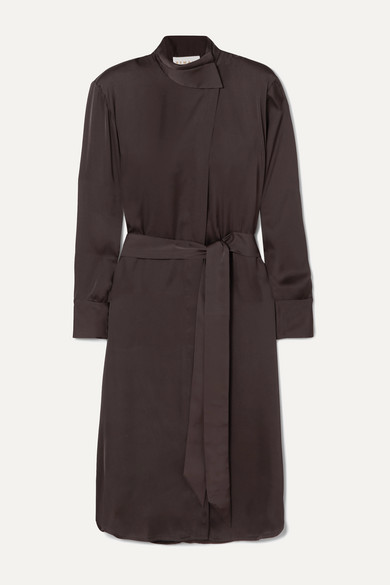 Milan Belted Satin Dress by Remain Birger Christensen