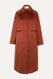 REMAIN Birger Christensen Kyoto leather-trimmed quilted satin coat