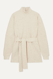 REMAIN Birger Christensen Arno belted mélange cotton-blend sweatshirt
