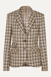 Checked wool-twill blazer