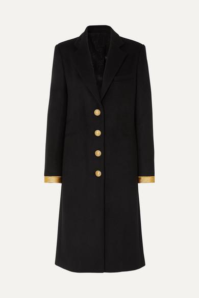 Paco Rabanne Coats Caban button-embellished wool-blend coat