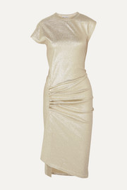 Ruched metallic stretch-jersey dress