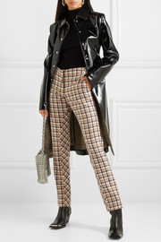 Chain-embellished checked wool-twill straight-leg pants