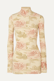 Paco Rabanne Floral-print ribbed cotton-blend turtleneck top