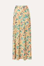 Printed satin maxi skirt