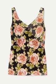 Paco Rabanne Floral-print velvet and satin camisole
