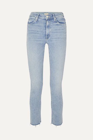 The Dazzler Cropped Distressed High Rise Skinny Leg Jeans by Mother