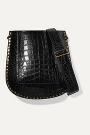 Oskan studded croc-effect leather shoulder bag