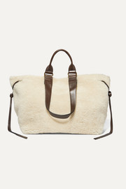 Wardym leather-trimmed shearling tote
