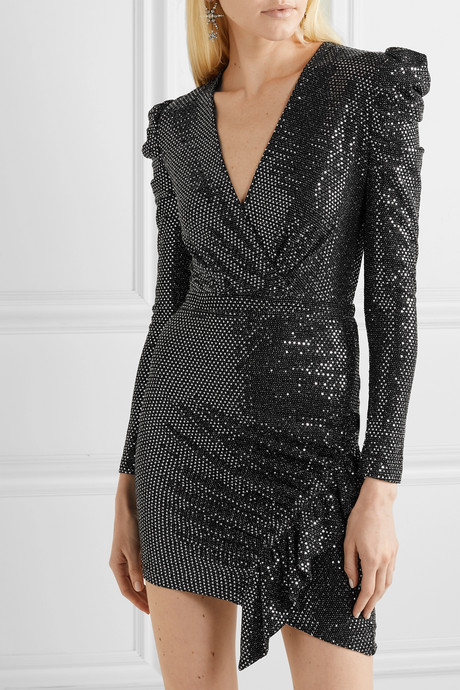 Lou Lou ruched sequined stretch-jersey mini dress