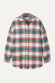 IRO Darkina oversized frayed checked cotton-flannel shirt