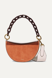 Doris two-tone suede and textured-leather shoulder bag