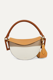 Dip color-block textured-leather shoulder bag