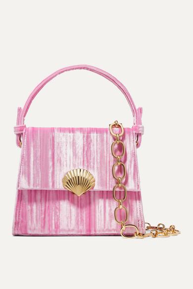 Jemima Plissé Velvet Shoulder Bag by Rixo