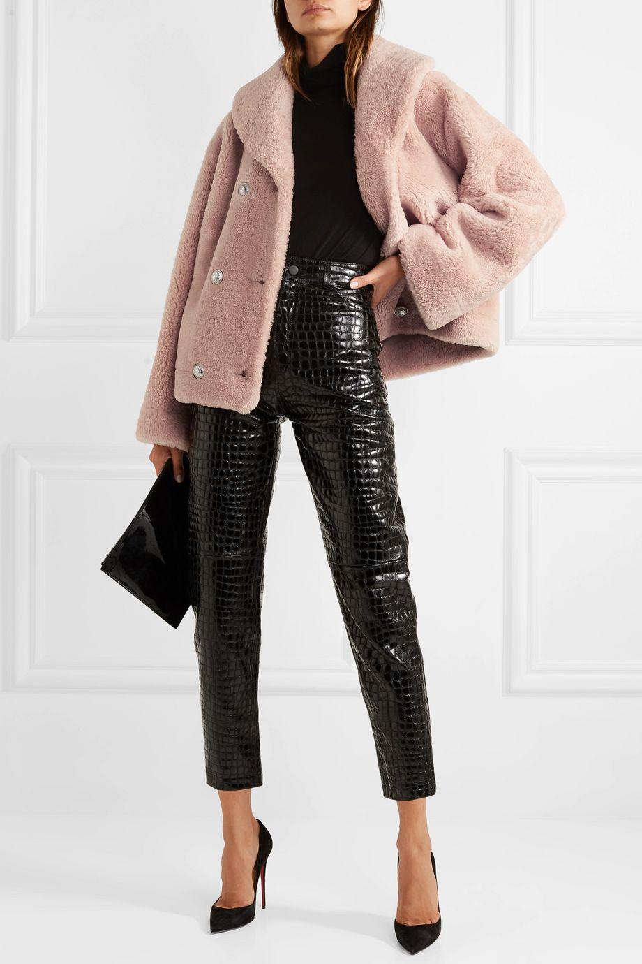Balmain Double-breasted shearling coat