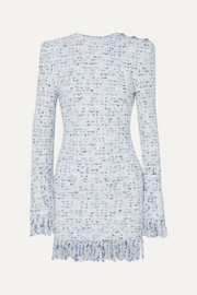 Balmain Button-embellished fringed metallic tweed mini dress