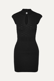 Balmain Button-embellished ribbed pointelle-knit mini dress