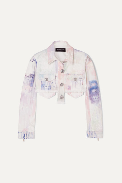 Cropped Tie Dyed Denim Jacket by Balmain