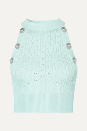 Balmain Button-embellished cropped ribbed pointelle-knit tank