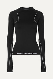 Paneled stretch-jersey top