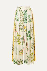Pleated printed silk-jacquard wide-leg pants