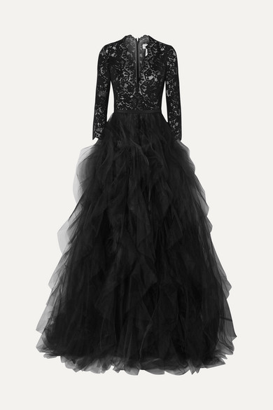 Oscar De La Renta Dresses Corded lace and ruffled tulle gown