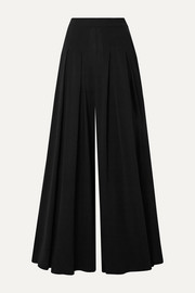 Oscar de la Renta Pleated stretch-crepe wide-leg pants
