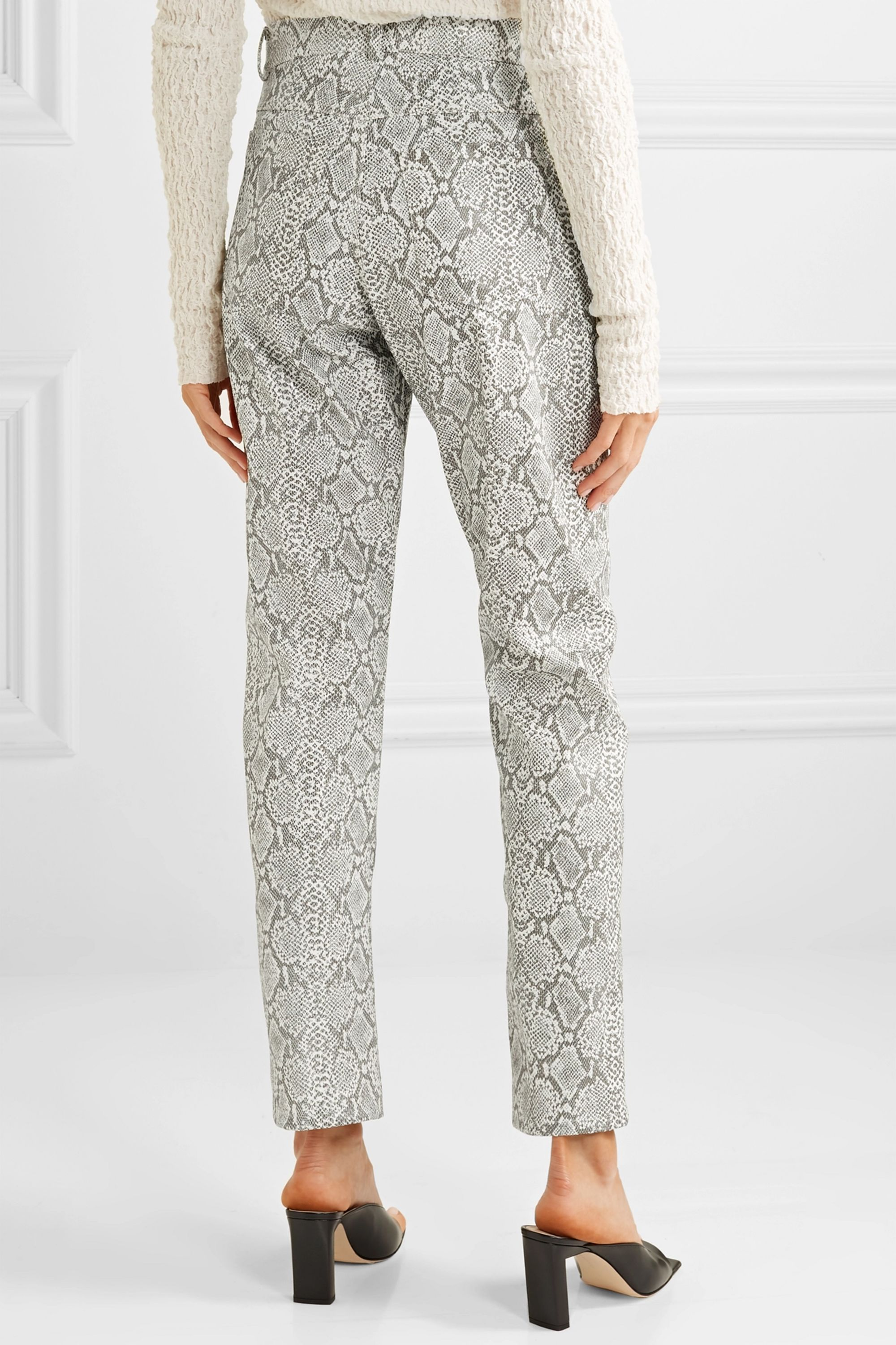 Georgia Alice Snake-effect faux leather straight-leg pants
