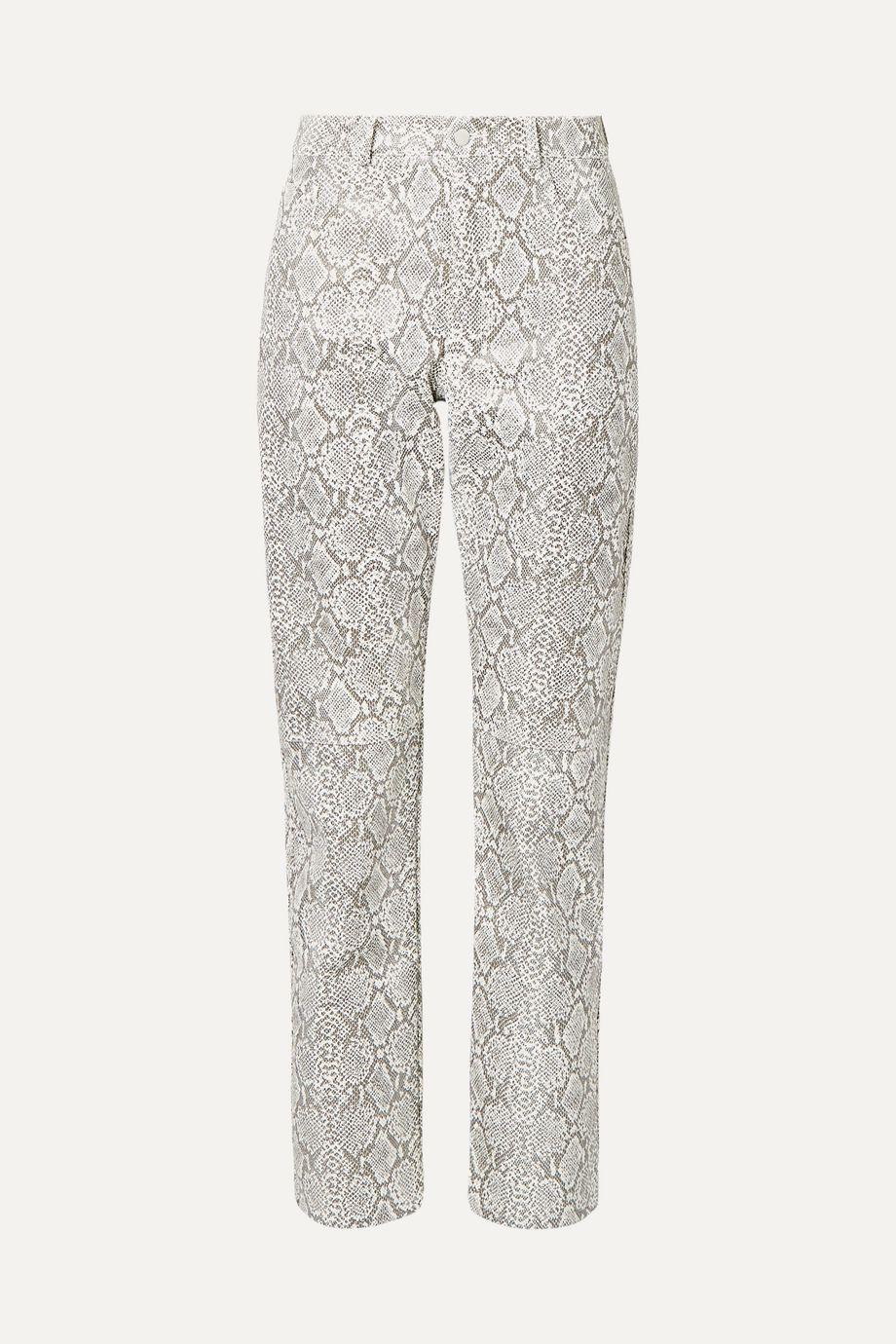 Georgia Alice Snake-effect faux leather straight-leg pants