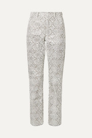 Snake-effect faux leather straight-leg pants