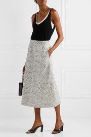 Snake-effect faux leather midi skirt