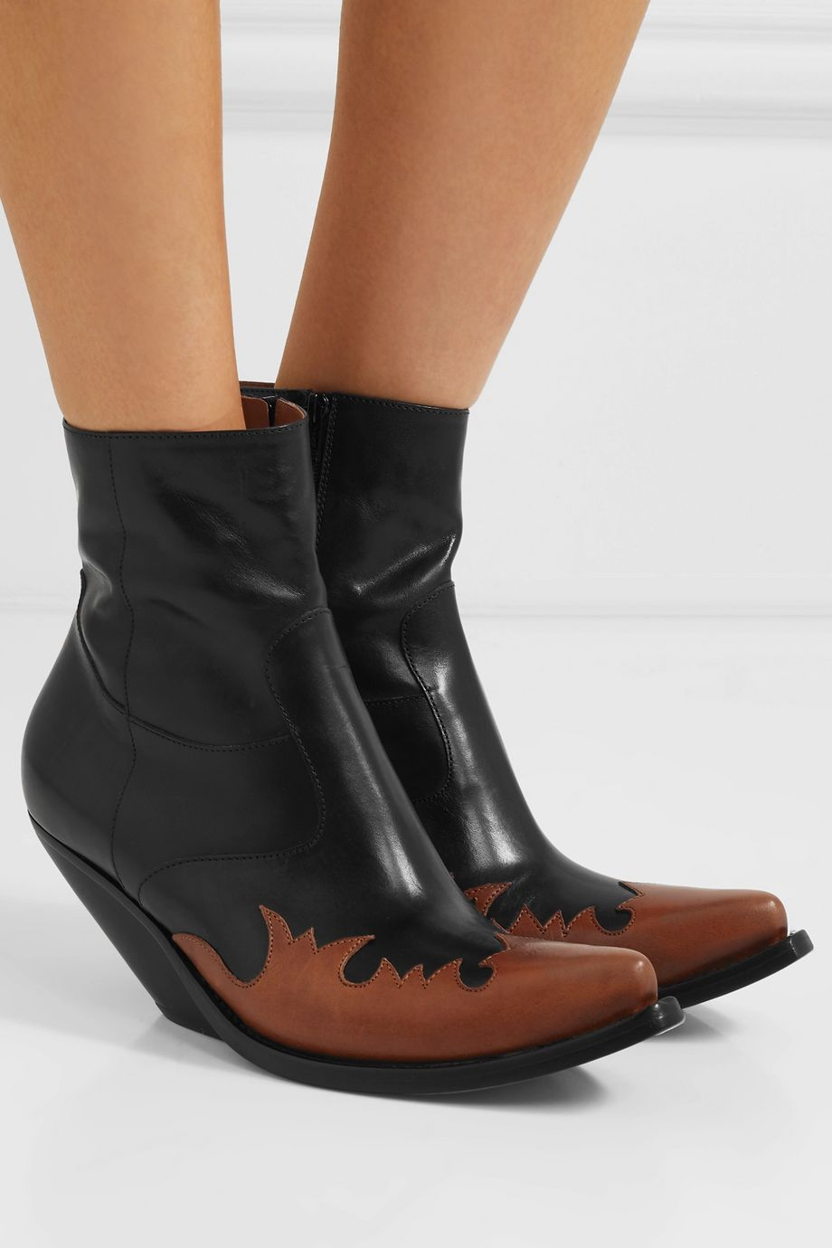 Vetements Kick-Ass two-tone leather ankle boots
