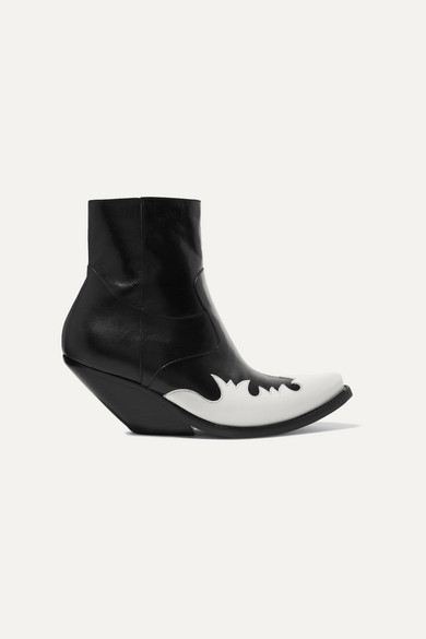 Kick Ass Two Tone Leather Ankle Boots by Vetements