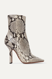 Boomerang snake-effect leather ankle boots