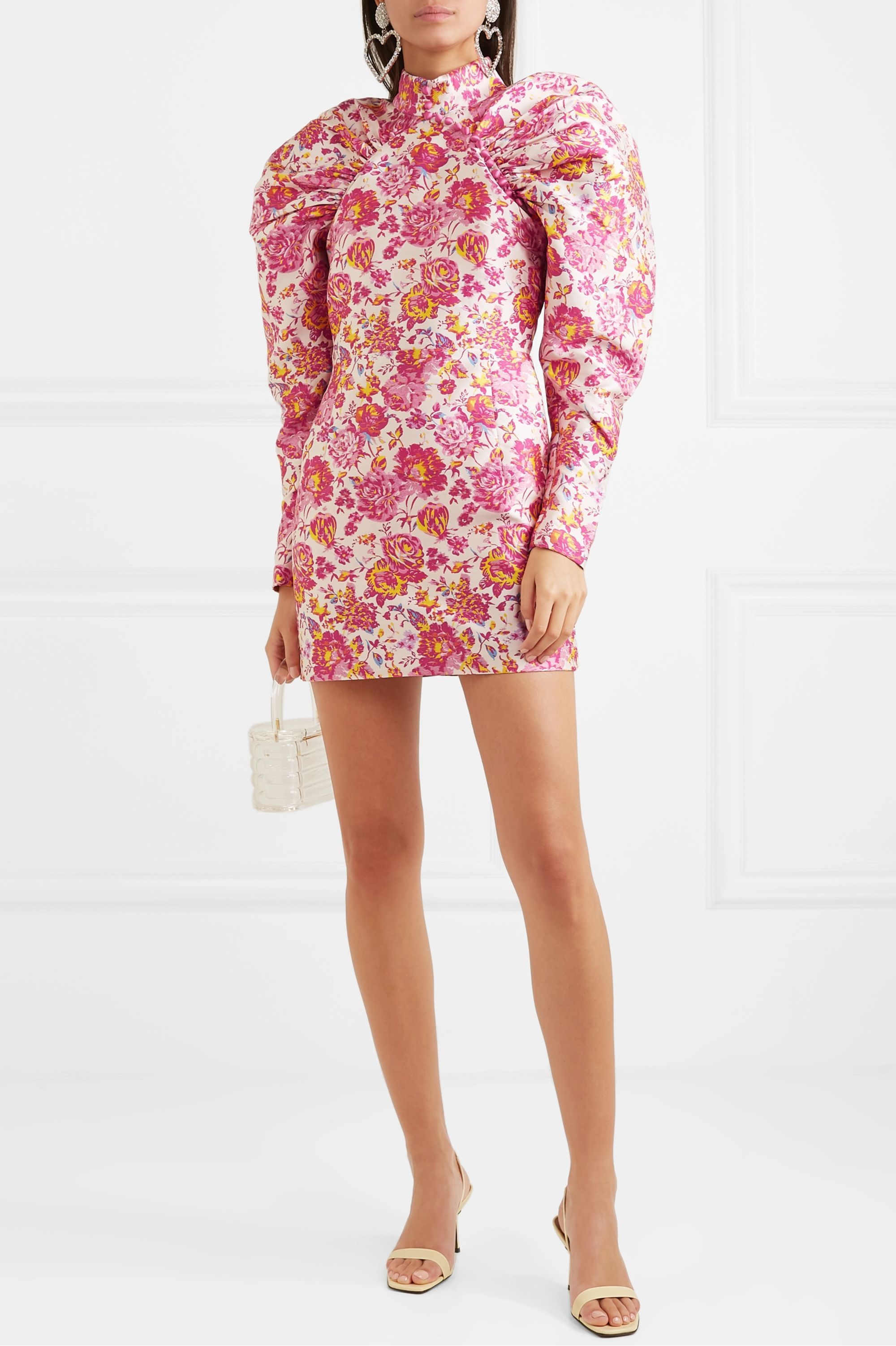 ROTATE Birger Christensen Button-detailed ruched floral-jacquard mini dress