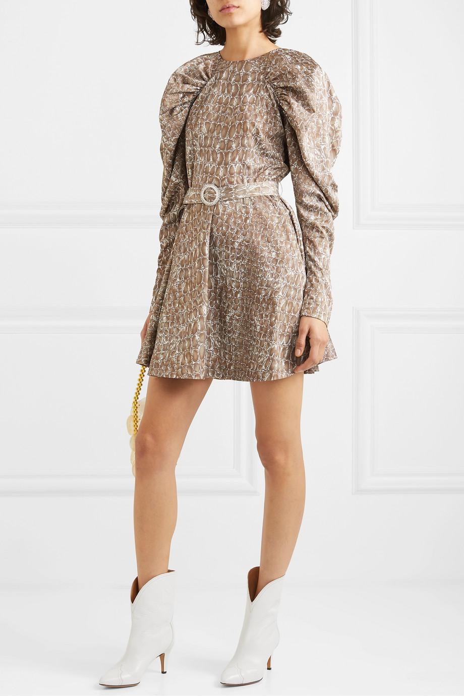 ROTATE Birger Christensen Belted gathered animal-print matte-satin mini dress