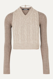 Jacquemus Layered cable-knit two-tone merino wool sweater