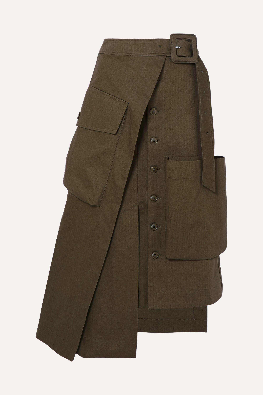 Jacquemus Thika asymmetric cotton-gabardine midi skirt