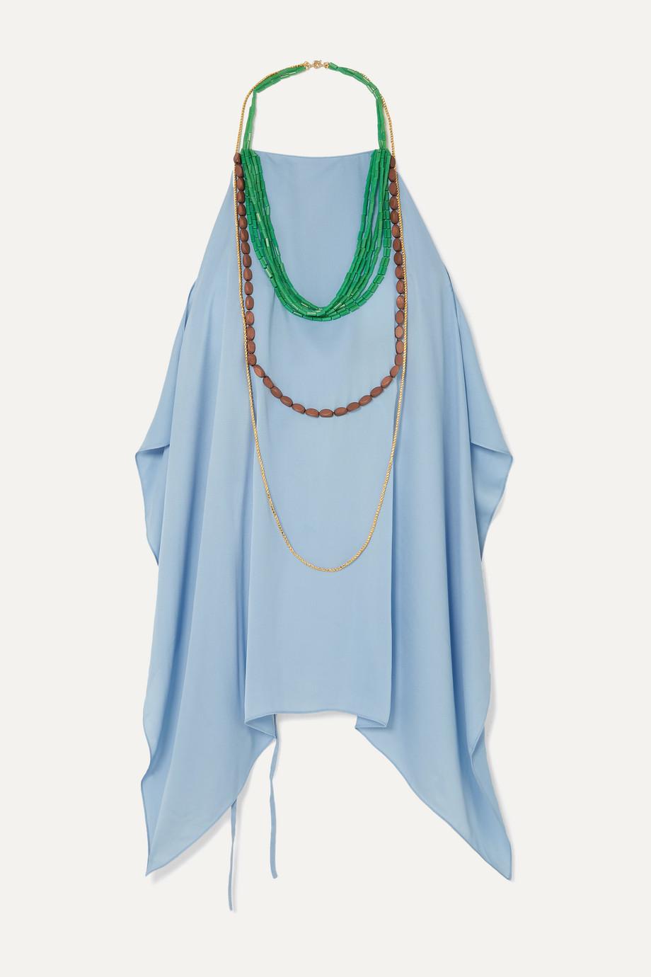 Jacquemus Haut Bijoux backless draped embellished crepe halterneck top