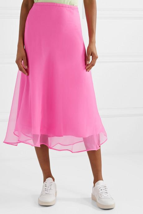 + NET SUSTAIN Because We Can silk-organza midi skirt