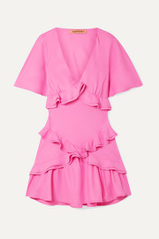 + NET SUSTAIN The Jones ruffled recycled crepe de chine mini dress
